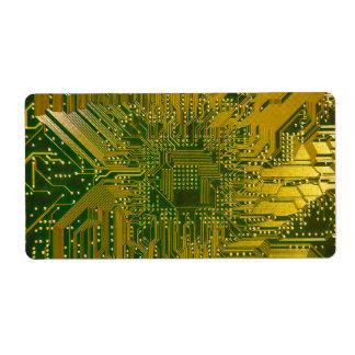 Verde y placa de circuito del ordenador etiquetas de envío