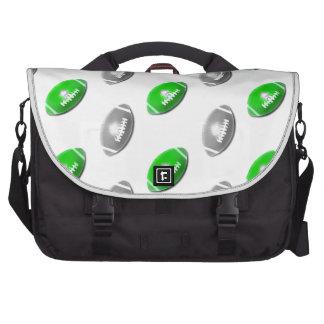 Verde y plata/modelo gris del fútbol bolsas para portatil