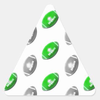 Verde y plata/modelo gris del fútbol pegatina triangular