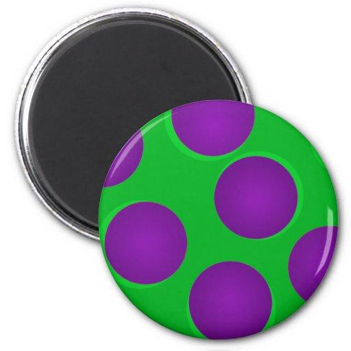 Verde y púrpura puntea los imanes imán de frigorífico