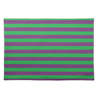 Verde y púrpura raya Placemat Manteles Individuales