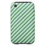 Verde y rayas de la diagonal del trullo tough iPhone 3 carcasas
