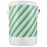 Verde y rayas de la diagonal del trullo enfriador de bebida igloo