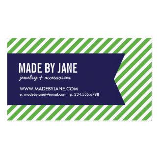 Verde y rayas y cinta modernas de los azules tarjetas de visita
