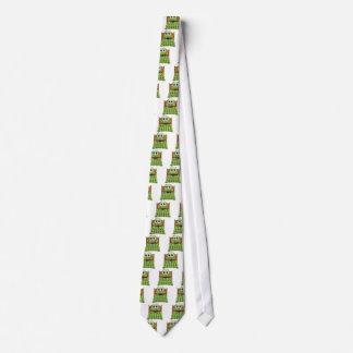 Verde y rojo del dibujo animado de la cama corbata