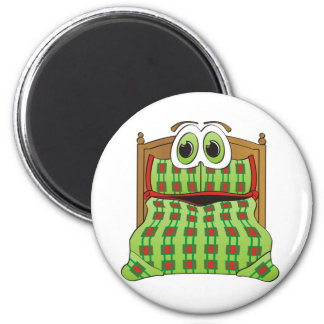 Verde y rojo del dibujo animado de la cama imanes