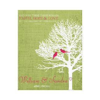 Verde y rosa de la impresión del árbol del pájaro lona estirada galerias