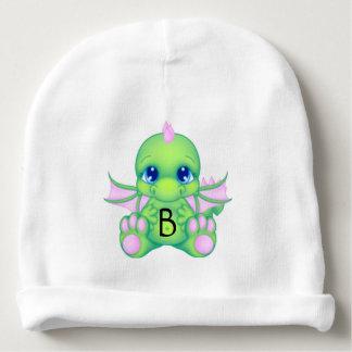 Verde y rosa lindos del dragón del bebé gorrito para bebe