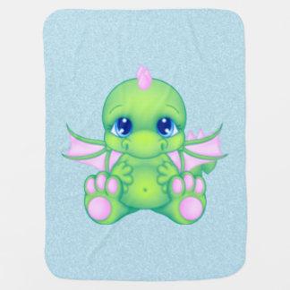 Verde y rosa lindos del dragón del bebé mantitas para bebé