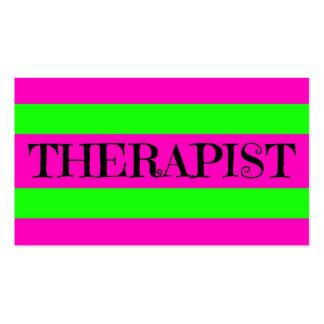 Verde y rosas fuertes de neón del terapeuta tarjetas de visita