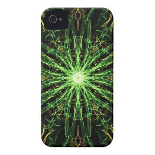 Verde y seda Starburst del oro iPhone 4 Case-Mate Cárcasa