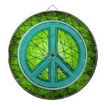 Verde y signo de la paz de la turquesa tablero de dardos