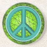 Verde y signo de la paz de la turquesa posavasos diseño