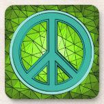 Verde y signo de la paz de la turquesa posavasos de bebida
