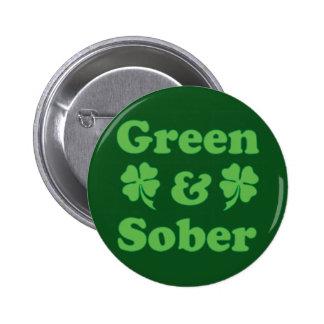 Verde y sobriedad irlandesa sobria pin redondo de 2 pulgadas