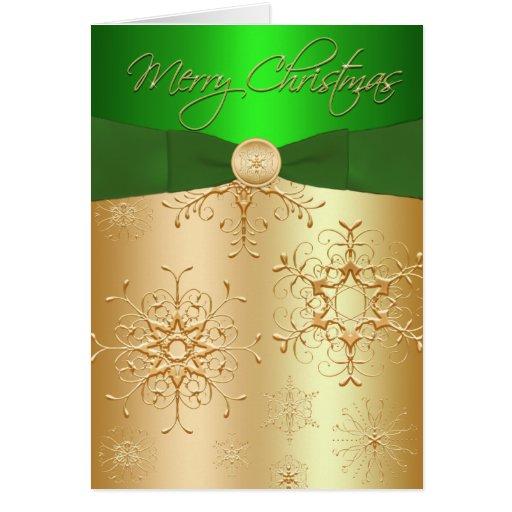Verde y tarjeta de Navidad de los copos de nieve d