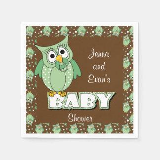 Verde y tema de la fiesta de bienvenida al bebé servilletas desechables