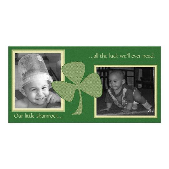 Verde y trébol del oro tarjetas fotograficas