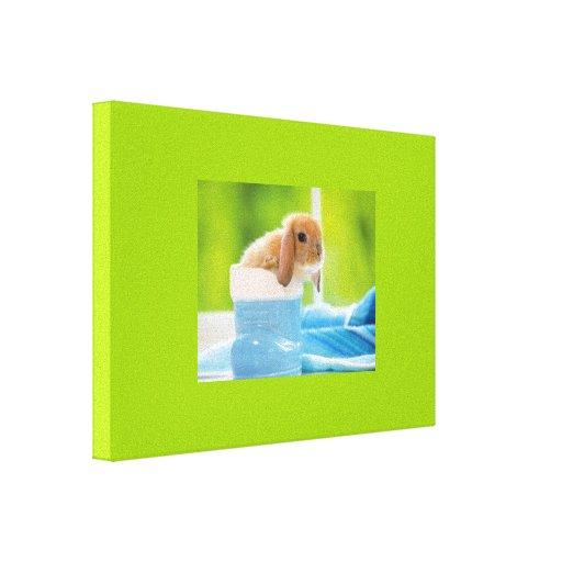 verdes azules del CONEJO de CONEJITO del BEBÉ de 2 Impresión En Lienzo