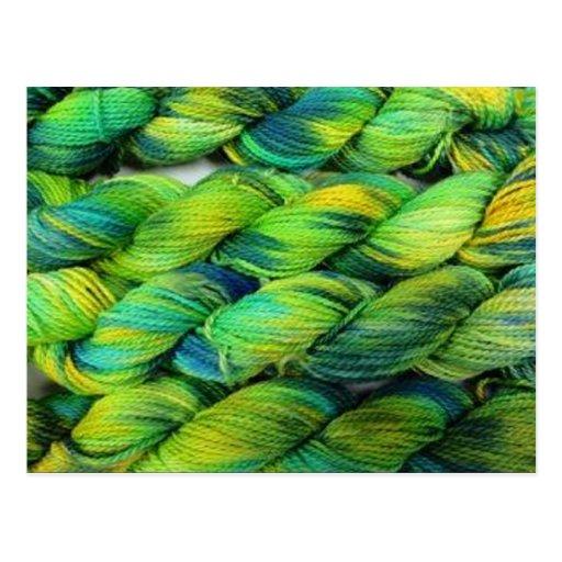 Verdes del hilado de ColourSpun Handyed Tarjetas Postales