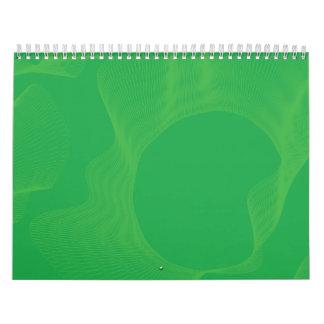 Verdes ondulados impares de las curvas calendario de pared