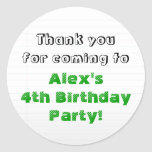 Verdes personalizada le agradecen fiesta de pegatina redonda