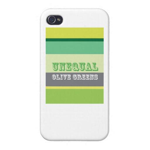 """""""Verdes verdes olivas desiguales """" iPhone 4 Cárcasas"""