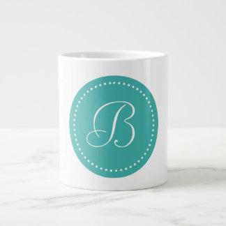Verdete redondo con monograma/frontera blanca del taza grande