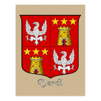 Verdi Family Heraldic Shield Postcard