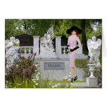 Verdi - traje rosado, ángeles en el cementerio de tarjeta de felicitación