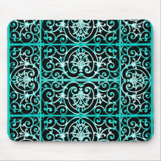 Verdigris and black scrollwork pattern mouse pad