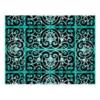 Verdigris and black scrollwork pattern postcard