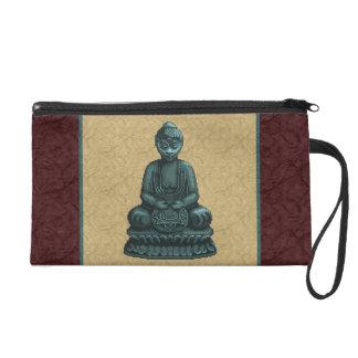 Verdigris Green Buddha Pixel Art Wristlet Clutch