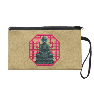 Verdigris Green Buddha Pixel Art Wristlet Purse