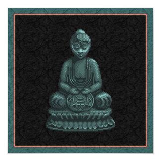 Verdigris Green Buddha Pixel Art 5.25x5.25 Square Paper Invitation Card