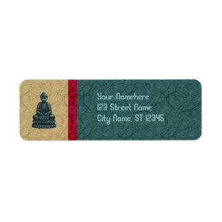 Verdigris Green Buddha Pixel Art Label
