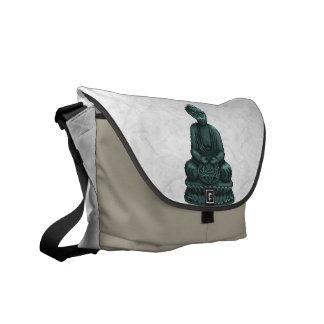 Verdigris Green Buddha Pixel Art Courier Bag