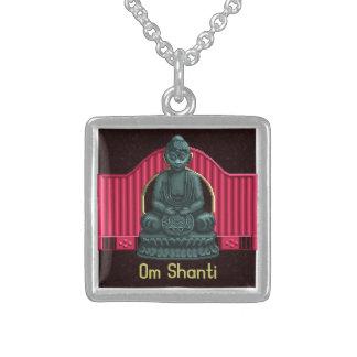 Verdigris Green Buddha Pixel Art Square Pendant Necklace