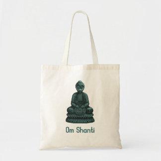 Verdigris Green Buddha Pixel Art Tote Bag