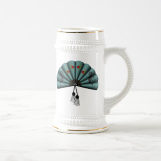 Verdigris Green Dragon Fan Pixel Art Coffee Mugs