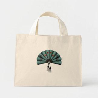 Verdigris Green Dragon Fan Pixel Art Mini Tote Bag