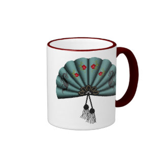 Verdigris Green Dragon Fan Pixel Art Mug