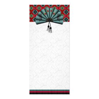 Verdigris Green Dragon Fan Pixel Art Rack Card