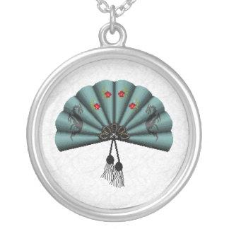 Verdigris Green Dragon Fan Pixel Art Round Pendant Necklace