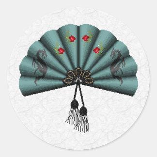 Verdigris Green Dragon Fan Pixel Art Stickers