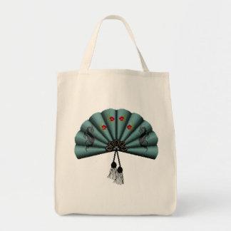 Verdigris Green Dragon Fan Pixel Art Tote Bag