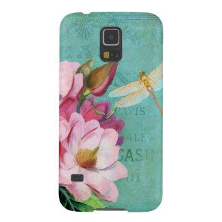 Verdigris, pink Magnolias dragonfly Samsung Galaxy S5 Case