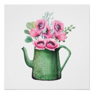 Verdigris Water Can with Pink Posies Poster Print