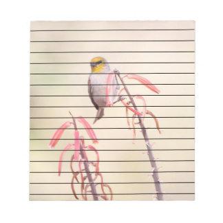 Verdin perched on penstemon notepad