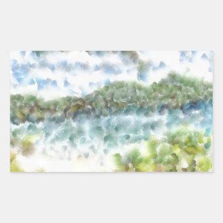 Verdor y una playa de la isla pegatina rectangular